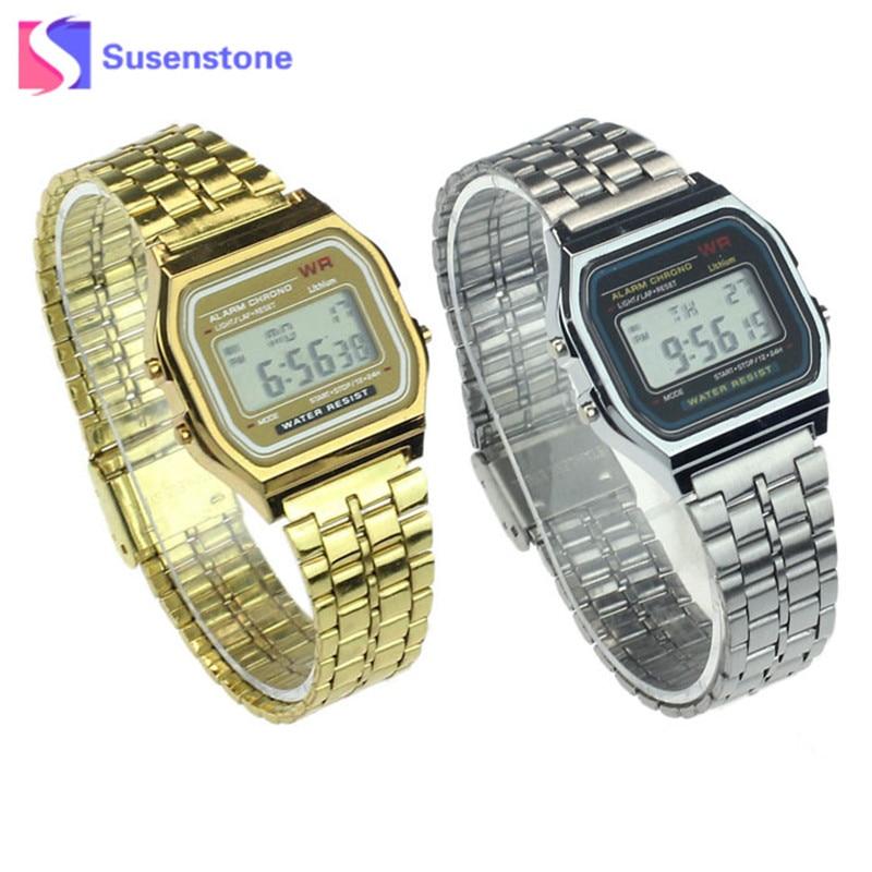 Digitale Uhren Motiviert Alipower Vintage Frauen Männer Uhr Uhr Edelstahl Digitale Alarm Stoppuhr Armbanduhr Relogio Masculino Femme Dropshipping