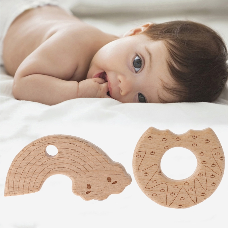1Pcs Natural Wood Baby Teether Ring Teething Toy Wooden Chew Toys Necklace DIY