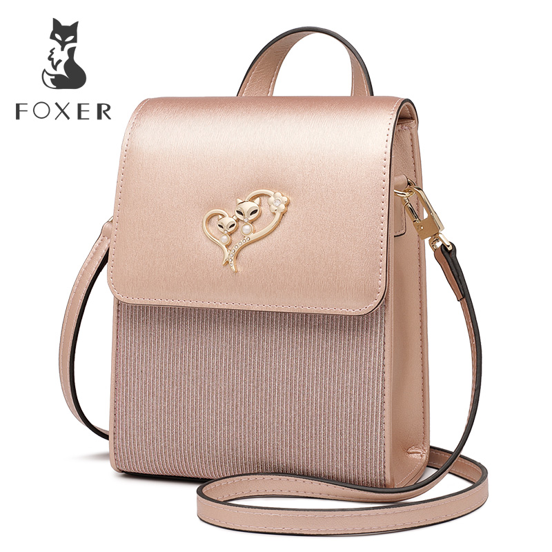 FOXER Brand Lady Cellphone Bags Female Leather Shoulder Bag Girl's MINI Crossbody Bags Women Evening bag Valentine's Day present