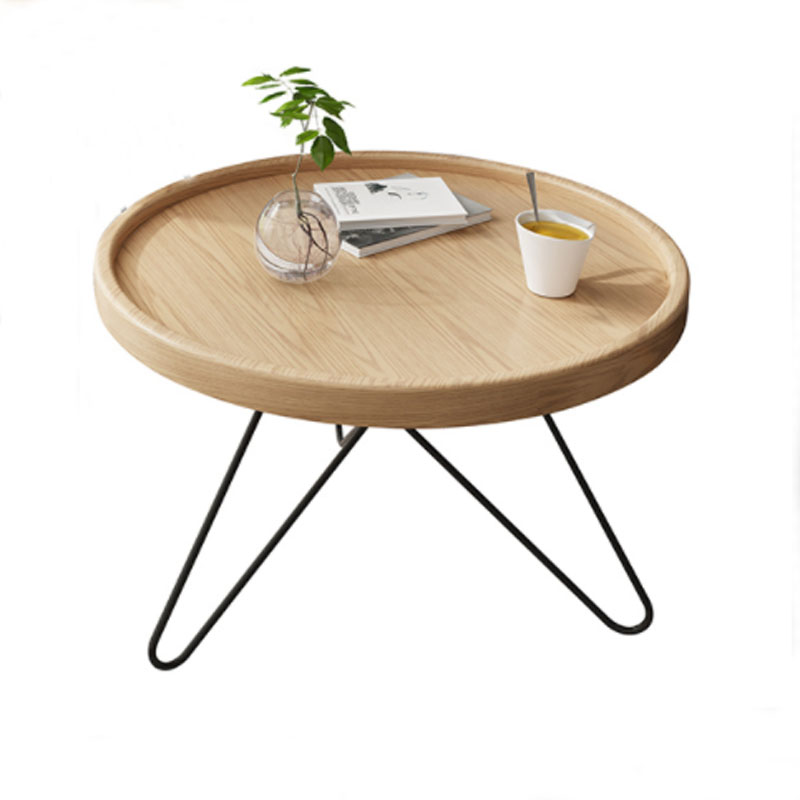 Solid Wood Coffee Table Metal Round End Table for Living Room Side Table end table