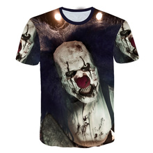 Summer Clown T-shirt Men Tshirt The Film Printed Clothes Japan Style Terror Ghost Cool 3d Anime Mens Clothing Cartoon 3D