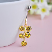 Cute Rhinestone Grape Piercing Belly Button Ring 316L Surgical Stainless Steel Ring Gold Plated Sexy Body