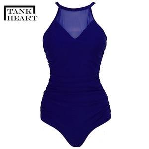 Image 3 - タンクハートセクシーなレトロなワンピーススーツモノキニプラスサイズ水着女性ワンピース水着 Badpak Trikini 水着女性 4XL
