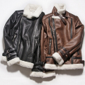 Side Zipper Thick Warm Fleece Line B3 Flight Bomber Suede Jacket Men Faux Sheepskin Coat Winter Pilot Leather Jacket Black Brown