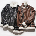 Side zipper grueso polar caliente line vuelo b3 bombardero gamuza Hombres de la chaqueta de Imitación de piel de Oveja Abrigo de Invierno Chaqueta de Cuero de Piloto Negro marrón
