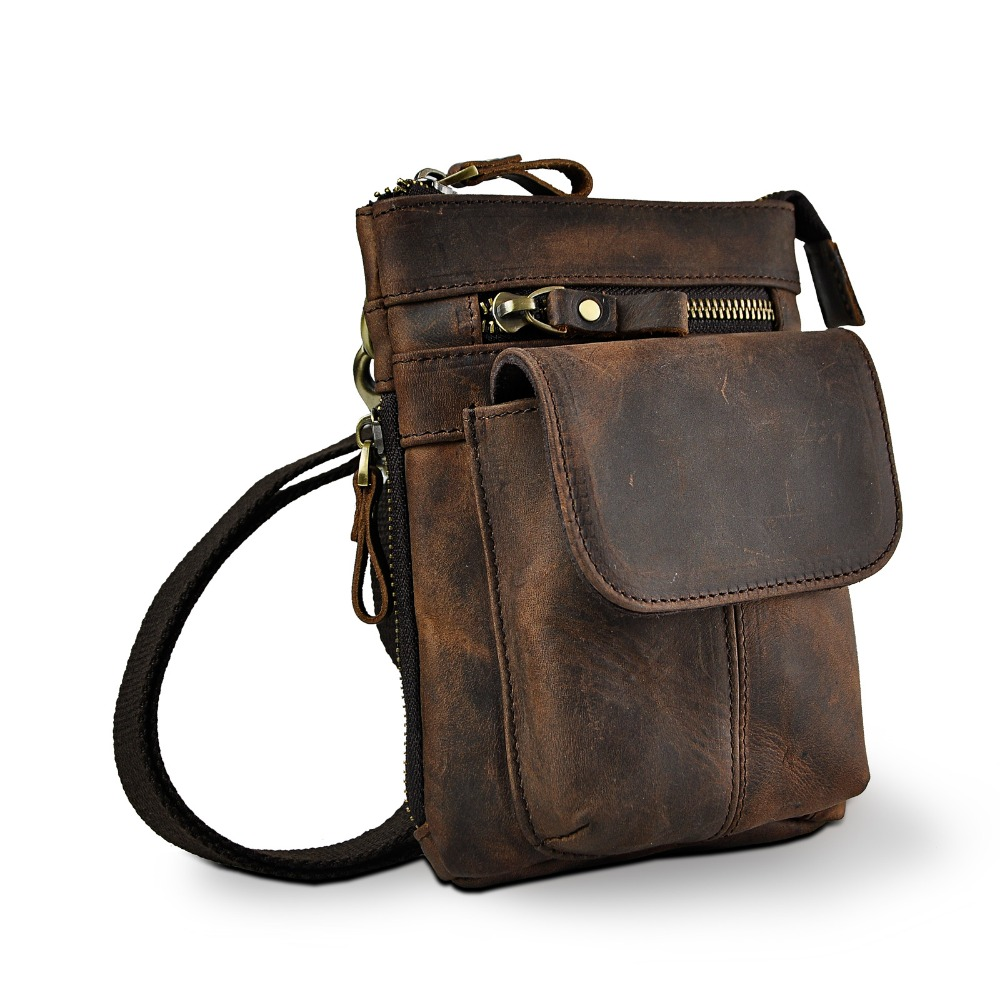 Real Leather Men Multifunction Design Small Crossbody Messenger One Shoulder Bag Fashion Waist Belt Bag Cigarette Case 611-18