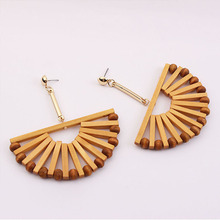 Vintage Ethnic Geometric Wooden Earrings For Women 2019 Summer Retro Bamboo Dangle Earring Woman Fashion Jewelry