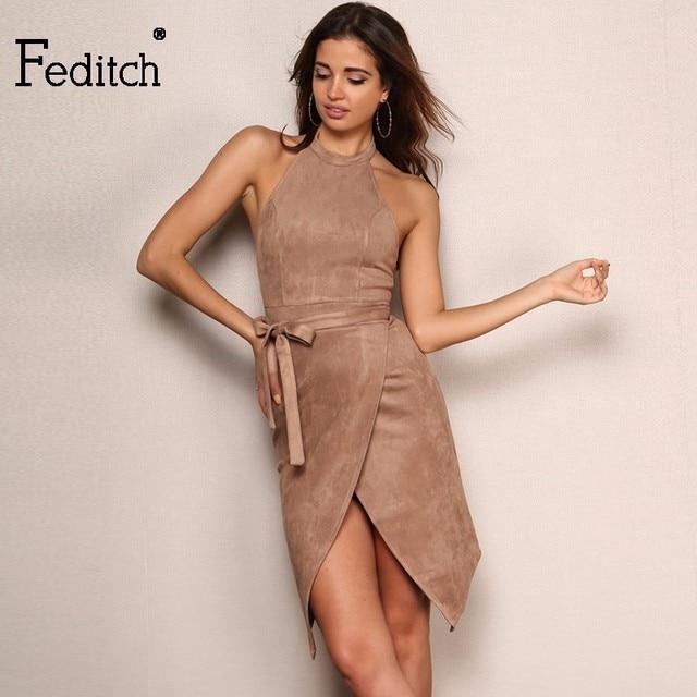 Feditch 2017 Newest Fashion Women Party Dresses Solid Color Sexy Halter Off  Shoulder Vintage Vestidos Elegant Backless Dress 8825d6b78312