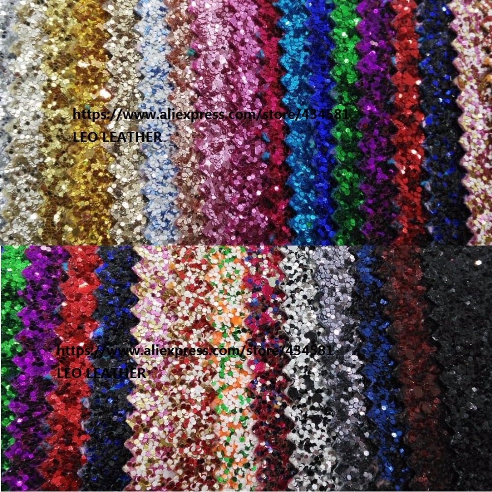 Matching Backing Chunky Glitter PU Leather Mixed Color Glitter PU Leather Fabric Sewing Fabric Fabric For  DIY Fabirc  P1073