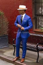 Nueva llegada moderno azul 100% lana 2 unidades (chaqueta + pantalones) dos  botones con muesca solapa slim fit traje a medida pa. 019b72d28fd