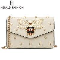Herald Fashion Women Messenger Bag New Brand Quality Leather Female Shoulder Bag Luxury Diamond Little Bee