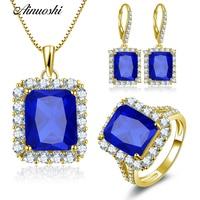 AINUOSHI 10 K массивная, желтая, Золотая ювелирный набор прямоугольной формы подвеска синего цвета Halo Кольцо роскошные серьги свадебные женские