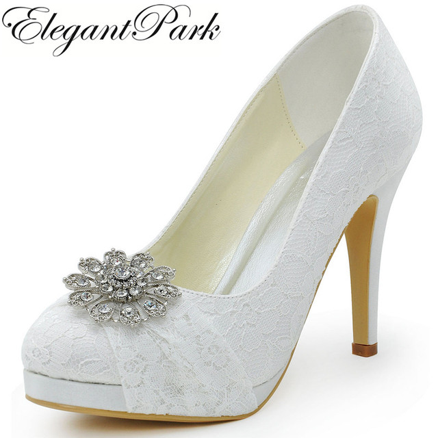 f3b254f1a4a HC1413P Woman Wedding Shoes White High Heel Platform Closed Toe Rhinestones  Pumps Women s Bridal Shoes Lady Ivory Lace Shoes