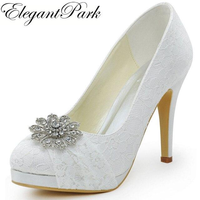 Blanco plataforma Peep bombas arco zapatos de tacón alto para mujeres jZszuGw