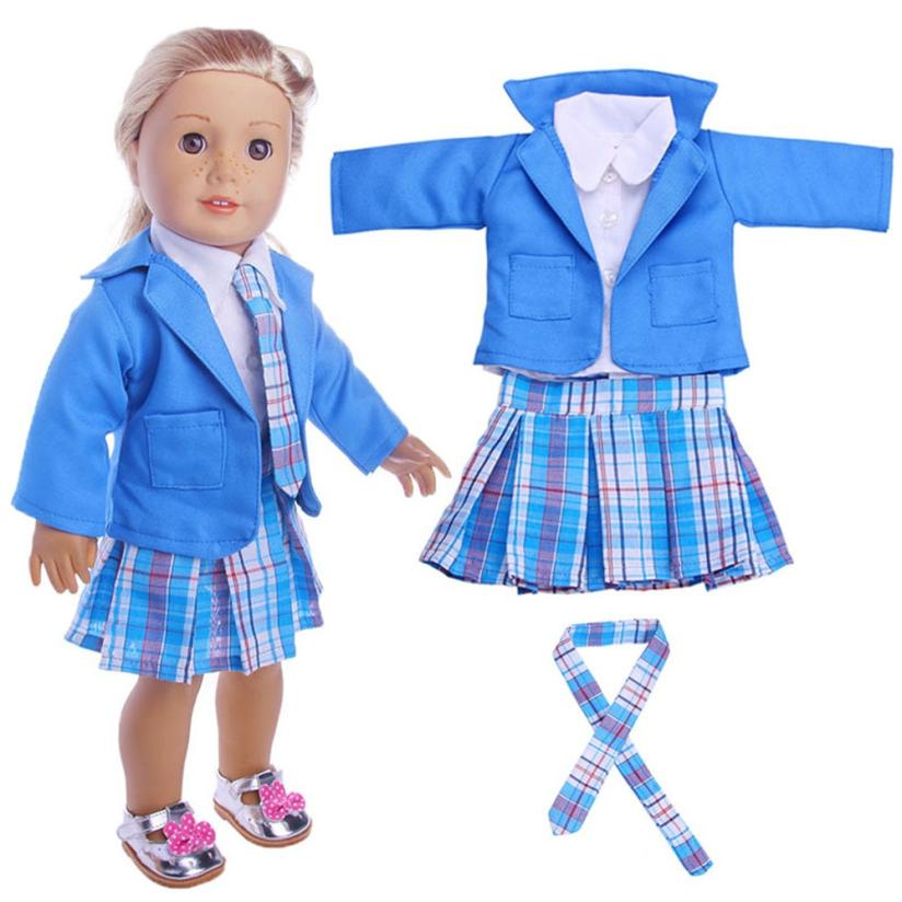 Dolls Accessories 2017 4PC Student Clothing Pleated Dress Uniform Outfit For 18 inch American Girl Doll D30 ...