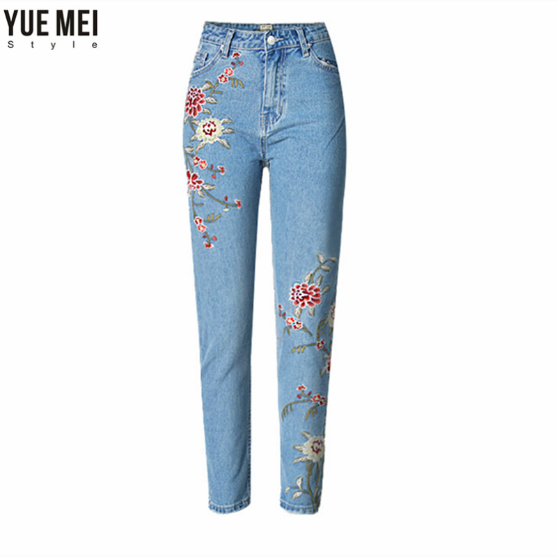 Embroidery  Jeans   Women Pencil  High Waist Floral Fashion Ankle Length Women Denim Pants 2017 spring new women sweet floral embroidery pastoralism denim jeans pockets ankle length pants ladies casual trouse top118