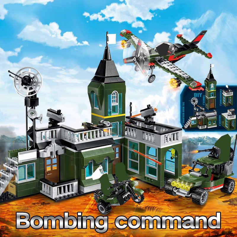 627 Pcs ทหารระเบิดสำนักงานใหญ่อาคาร Blocks ใช้งานร่วมกับ City ตำรวจรถบรรทุกอิฐชุดของเล่นเด็ก