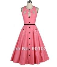 Free Shipping British Retro Swing Tartan Dress Pink Vintage 50s Rockabilly Dress