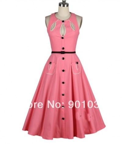 Free Shipping British Retro Swing font b Tartan b font Dress Pink Vintage 50s Rockabilly Dress