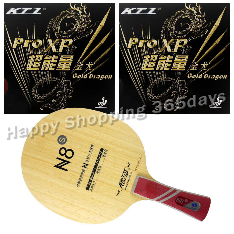 Combo Racket Galaxy YINHE N8s Blade with 2x KTL Pro XP Gold Dragon Rubbers Shakehand shakehand long handle FL pro table tennis pingpong combo racket ktl instinct shakehand blade with 2x pro xp rubbers long shakehand fl