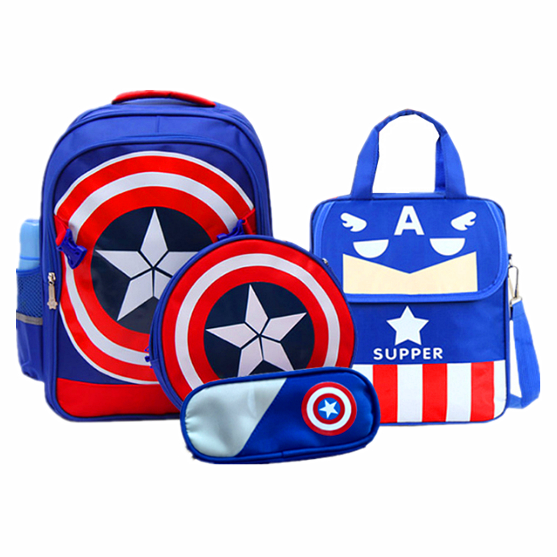 Captain America School Bags Boys Primary Students Backpacks Children Backpacks Schoolbag Kids The Avengers Composite Bag Mochila famous brand school backpack the avengers captain america iron man fashionable laptop backpacks high quality leather