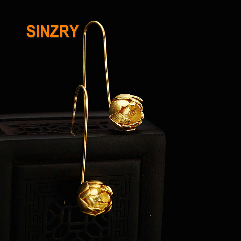Sinzry Hot 100% 925 Sterling Silver 18KGP trendy lotus flower artistic vintage drop Earrings Women silver fine jewelry