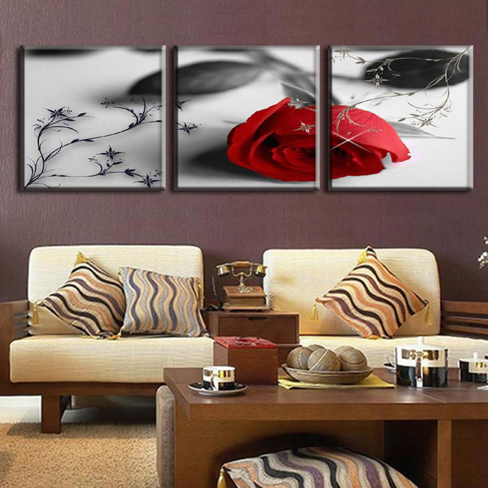 2016 New 3 Pcs Set Flower In Grey Red Rose Combined Painting On Canvas Modern Wall Paintings Pictures For Living Room