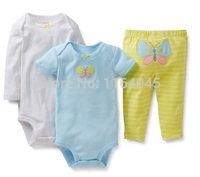 GSLL3-032, Original,Baby Girls 3-Piece Set , With 2 Pieces Bodysuits and 1 Piece Pants, Free Shipping