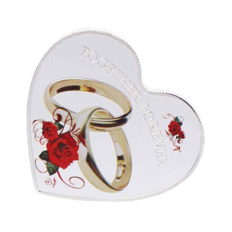 Moeda comemorativa Red Rose Anéis Juntos Para Sempre Casal Moedas Lembrança Coleção de Arte Presentes do Dia Dos Namorados Amante 2 Cor