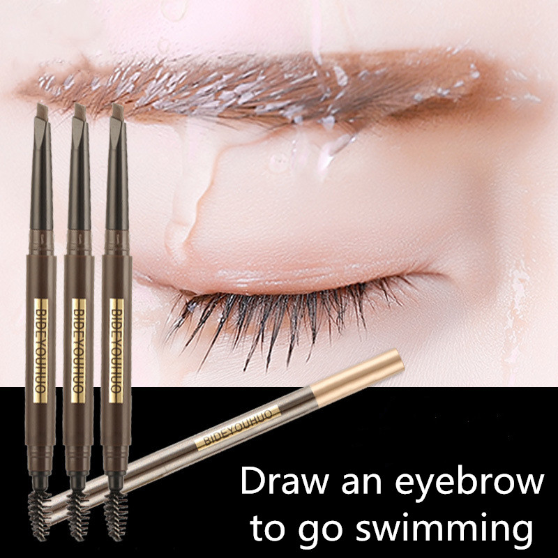 5 Color Double Ended Eyebrow Pencil Waterproof Long Lasting No Blooming Rotatable Triangle Eye Brow Pen in Eyebrow Enhancers from Beauty Health
