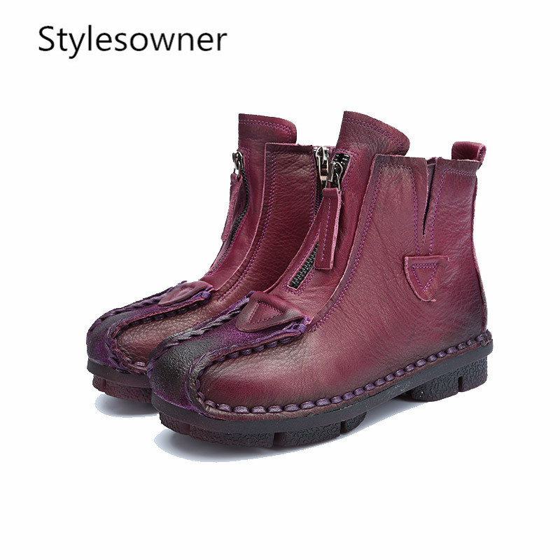 Stylesowner Genuine Leather Ankle Boots Velvet Hand-made Lady soft Flat shoes comfortable Casual Moccasins Womens shoesStylesowner Genuine Leather Ankle Boots Velvet Hand-made Lady soft Flat shoes comfortable Casual Moccasins Womens shoes