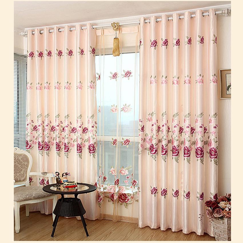 unidades readymade bordado chino rosa cortinas lryanrang semiapagn dormitorio