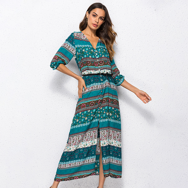 a301529d124 2018 new Bohemian printing long dress women maxi long dress floral print  retro hippie vestidos chic brand clothing boho dress