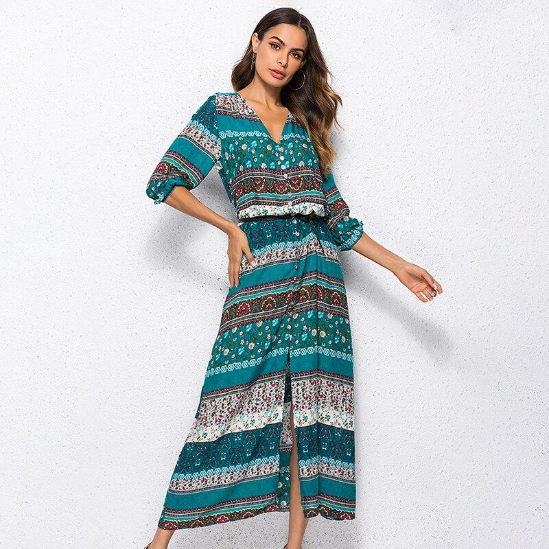 2019 novo boêmio impressão vestido longo maxi feminino vestido longo floral impressão retro hippie vestidos chique marca roupas boho vestido