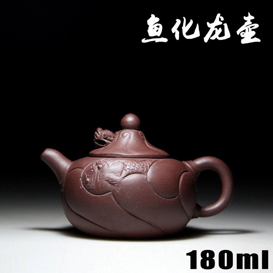 Authentic Yixing Zisha masters handmade teapot purple clay ore Hualong pot fish wholesale crafts 633