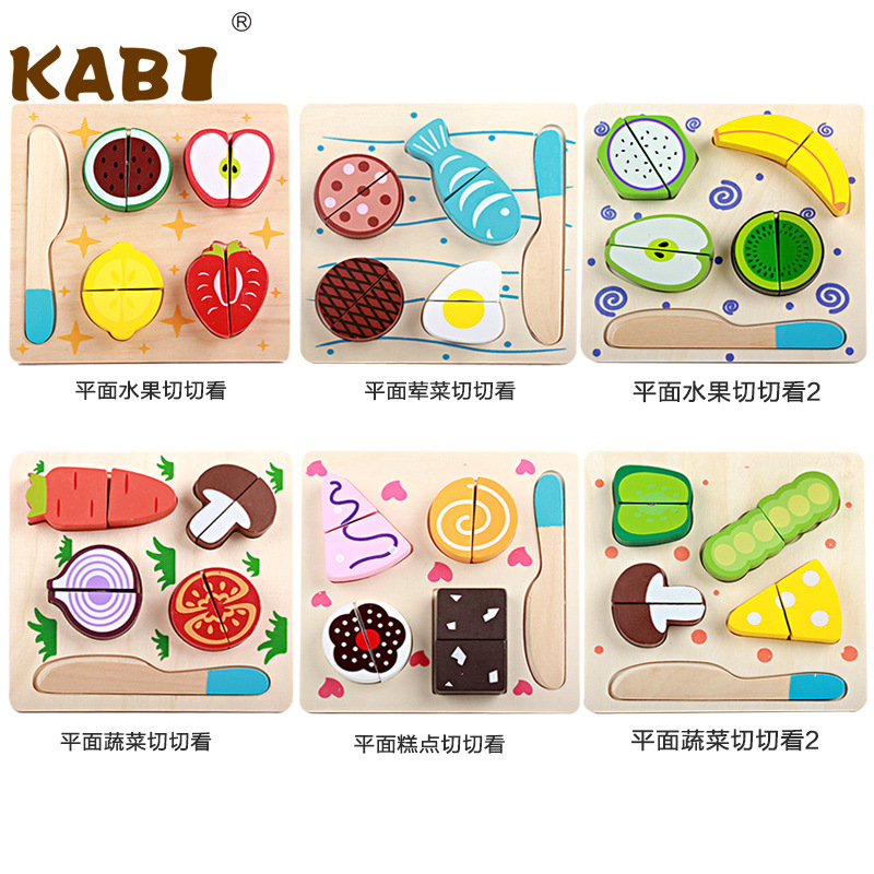 Children Wood Kitchen Toys Colorful Pretend Toys Educational Cut Toys for Kids Baby Fruit Vegetable Cocina Juguete