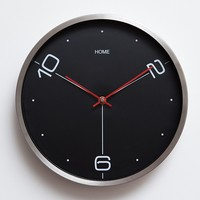 12 Minimalism black or white wall clock brush stainless steel mute quartz wall clock Modern brief mute clock Home decoration