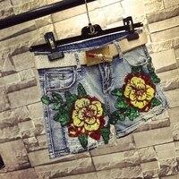 Qa1201 высокое качество женская летняя обувь мода блесток Универсальные джинсовые шорты женские укороченные джинсы бермуды Mujer