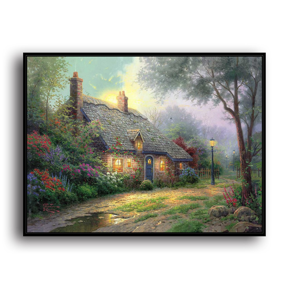 H1009 Thomas Kinkade Moonlight Cottage Landschaft, HD Leinwand Drucken Home  Dekoration Wohnzimmer Schlafzimmer Wand Bilder