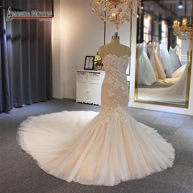 2019 meerjungfrau hochzeit kleid champagner farbe mit langen zug hochzeit bouquet