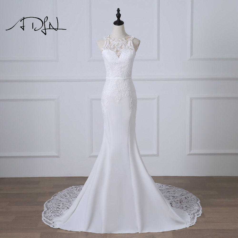 ADLN Romantic 2019 Mermaid Wedding Dresses Robe de Mariage White/Ivory Court Train Sexy Illusion Back Bridal Gown Customized