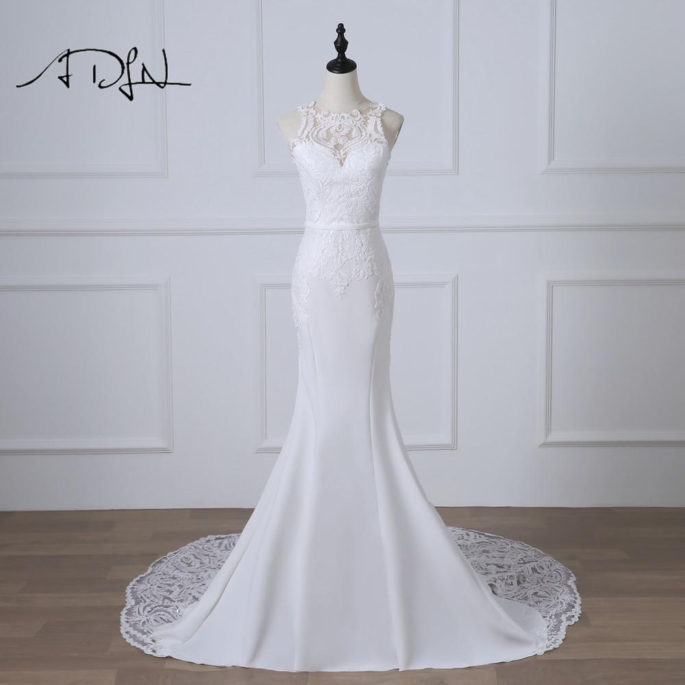 ADLN Romantic  Mermaid Wedding Dresses Robe De Mariage White/Ivory Court Train Sexy Illusion Back Bridal Gown Customized