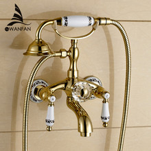 Golden Bath Faucet Shower Porcelain Shower Faucet Bathroom Telephone Bath Faucet With Hand Shower Bathroom Shower Tap WF-18025