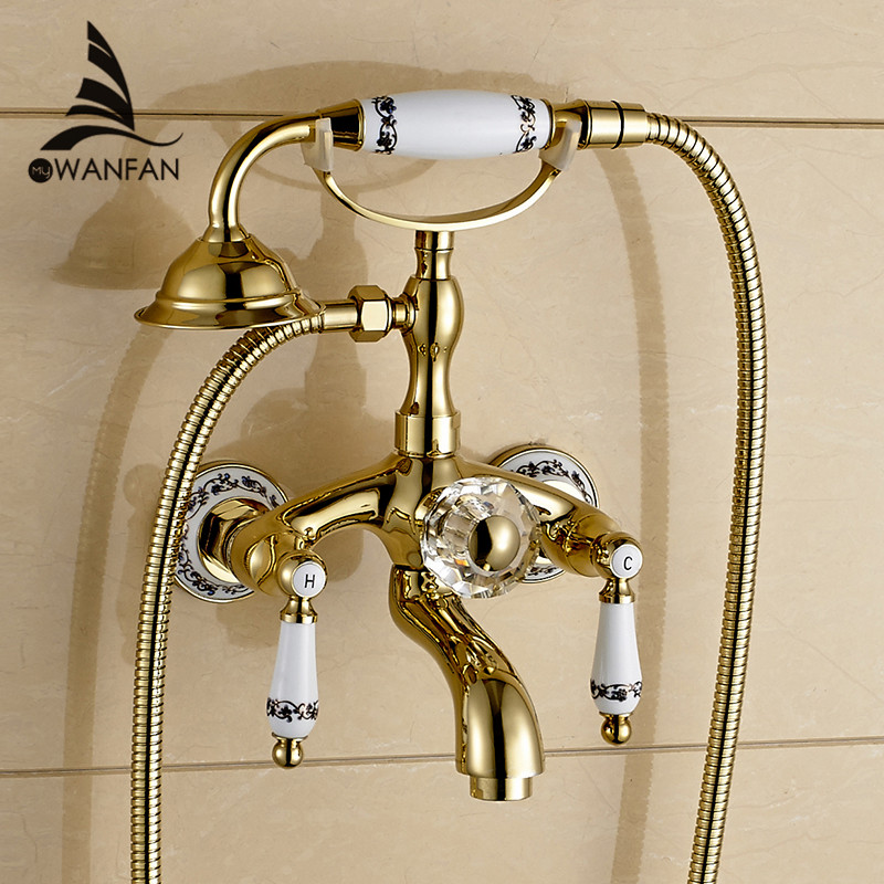 Shower Faucet Brass Polished Golden Bathtub Faucets Hand Rain Shower Head Tap Luxury Ceramic Telephone Wall Bath Faucet WF-18025 бумажник golden head портмоне 3331501