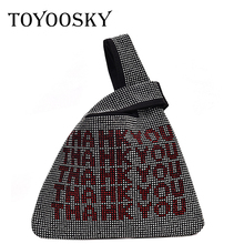 TOYOOSKY Thank You Sequins Bags Women Small Tote Crystal Bling Fashion Lady Bucket Handbags Vest Girls Glitter Purses
