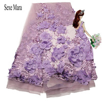3D Flower Applique African Mesh Lace Fabric Beaded Embroidery Guipure Lace Material Peach 2017 Indian 3D