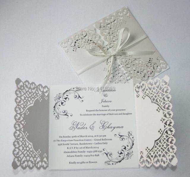 50 Personalisierte Perle Elfenbein Spitze Floral Design Reine Liebe