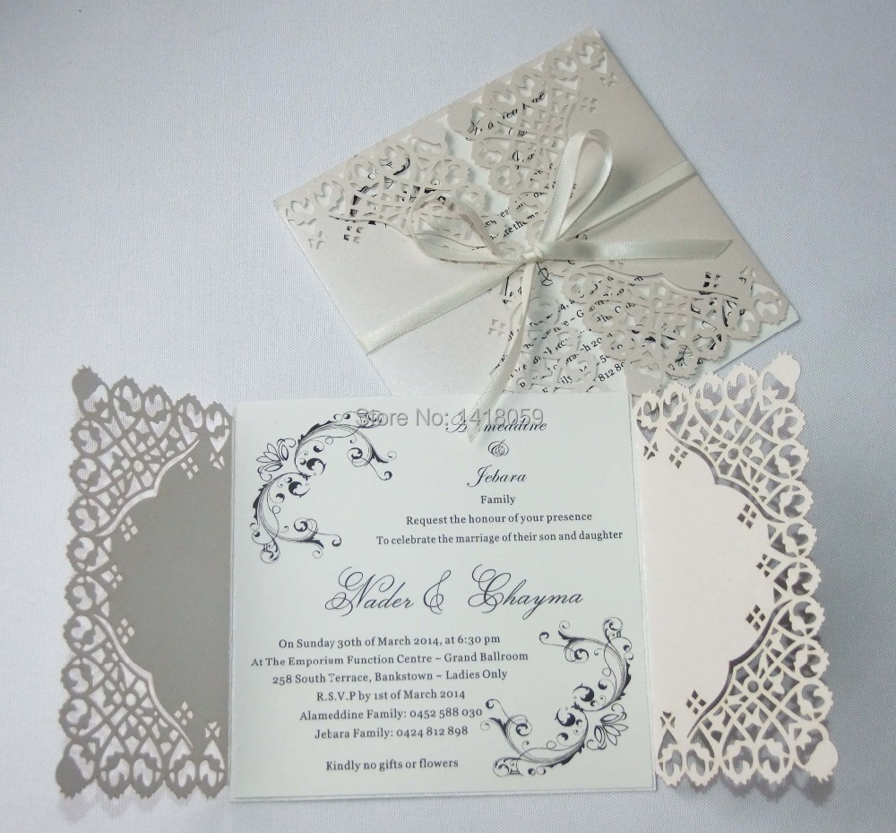 Invitation Wedding Card: Aliexpress.com : Buy 50 Personalized Pearl Ivory Lace