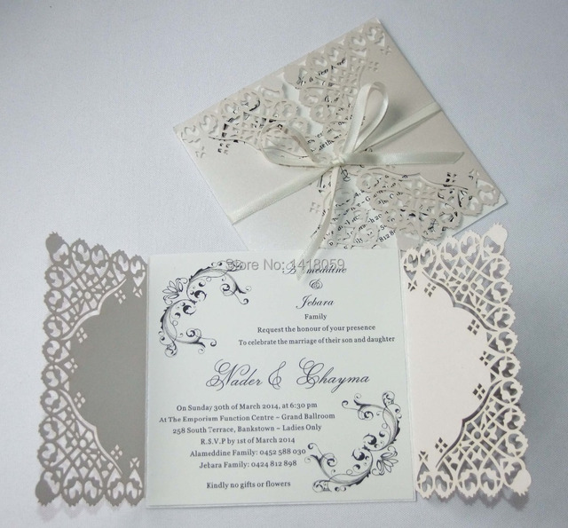 50 Personalized Pearl Ivory Lace Fl Design Pure Love Wedding Invitations White Elegant