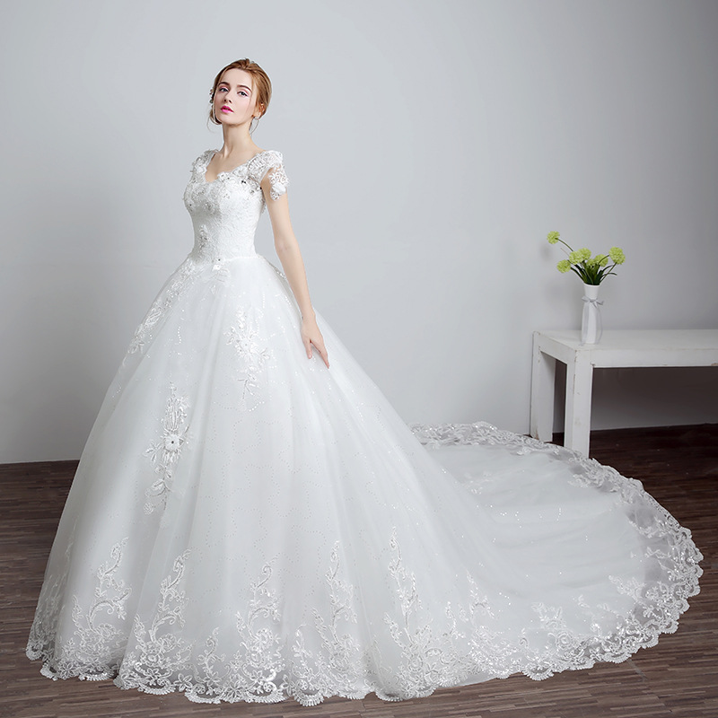 Elegant Tulle V neck Flower Beading Lace Vestidos De Novia Crystal Backless A line Wedding Dresses Marriage Bridal Gowns